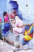 Women at the blue village, Jodhpur. Rajasthan, India