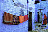 Woman at the blue village. Jodhpur, Rajasthan. India