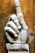 Hand, remains of huge Constantine s statue. Conservatori Museum. Rome. Italy