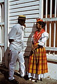 Man and woman dressed with traditional clothes. Martinique (French Département d outre Mer - DOM). French West Indies. France. Caribbean