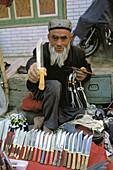 Upal market near Kashgar. Ouigour ethnic group. Sinkiang Province (Xinjiang). China