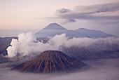 Bromo (2392m) and Semeru (3676m) volcanoes, early morning. Java island. Indonesia.