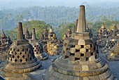 Borobudur Buddhist stupa. The Borobudur stupa dates to the ninth century A.D. UNESCO world heritage. Around 1460 relief sculpture. Java island. Indonesia.