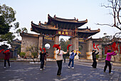 China, Yunnan province, City of Jianshui. Confucius temple. Morning excercices.