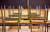 Arrangement, Chair, Chairs, Classroom, Classrooms, Color, Colour, Contemporary, Education, Elementary school, Empty, Grade School, Horizontal, Indoor, Indoors, Inside, Interior, Nobody, Order, Ready, School, Schools, Table, Tables, F57-242339, agefotosto