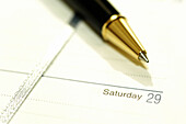 Agenda, Agendas, Ball-point pen, Ballpoint pens, Business, Close up, Close-up, Closeup, Color, Colour, Concept, Concepts, Day, Days, Detail, Details, Horizontal, Indoor, Indoors, Inside, Interior, Leisure, Object, Objects, Organizer, Organizers, Page, Pa