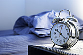 Alarm clock, Alarm clocks, Bed, Bedroom, Bedrooms, Beds, Bedside table, Clock, Clocks, Color, Colour, Concept, Concepts, Empty, Horizontal, Hours, Indoor, Indoors, Inside, Interior, Late, Morning, Mornings, Nobody, Object, Objects, One, One item, Sound,