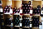 Bottles of wine. Binissalem. Majorca, Balearic Islands. Spain