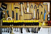 Tools in a furniture restoration workshop. Majorca. Balearic Islands. Spain