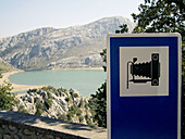 Panoramic view and photograph sign. Escorca. Tramuntana Mountains. Mallorca. Balearic Islands. Spain.