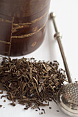 Beverage, Beverages, Close up, Close-up, Closeup, Color, Colour, Detail, Details, Dried, Drink, Drinks, Dry, Filter, Filters, Health, Herbal infusion, Indoor, Indoors, Interior, Leaf, Leaves, Metal, Metallic, Still life, Tea, Tea infuser, Vessel, Vessels