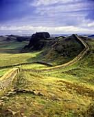 Scenic hadrian s wall ruins, Northumberland, England, UK