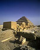 Heb-sed court yard, Zoser step pyramid, Saqqara ruins, Egypt.