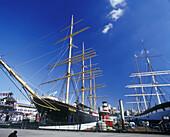 Tall ships, South Street seaport, downtown, Manhattan, New York, USA.