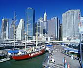 Lightship, South Street seaport, downtown skyline, Manhattan, New York, USA.