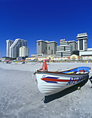 Lifeguard boat, Beach, Atlantic city, New Jersey, USA.