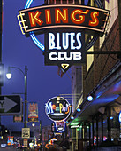 Neon signs, Beale Street, Memphis, Tennessee, USA.