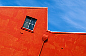 Building, Buildings, Color, Colour, Concept, Concepts, Crooked, Daytime, Detail, Details, Diagonal, Dwelling, Dwellings, Exterior, Horizontal, House, Houses, Not straight, One, Orange, Outdoor, Outdoors, Outside, Skewed, Wall, Walls, Warehouse, Window, W