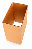 Box, Boxes, Brown, Cardboard, Color, Colour, Empty, Industrial, Industry, Object, Objects, One, One item, Open, Packaging, Packing, Pasteboard, Thing, Things, Vertical, F76-193563, agefotostock