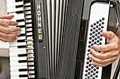 Elder man playing Hohner accordion