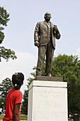Juneteenth Celebration, Kelly Ingram Park, Martin Luther King statue, Black female student. Birmingham, Alabama. USA.