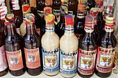 Bottles, flavored liqueur, alcohol. Dutch. Philipsburg. Sint Maarten.