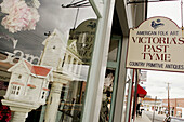 Virginia, Purcellville, 21st Street, sign, Victoria s Past Tyme, antiques, window display
