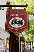 Virginia, Middleburg, Washington Street, sign, The Coach Stop, Fine Dining