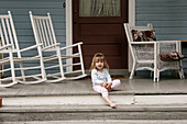 Virginia, Round Hill, rocking chairs, porch, girl