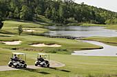 Greenville, Cambrian Ridge, Robert Trent Jones Golf Trail, course, carts, lake. Alabama. USA.