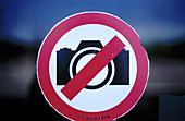 Camera, Cameras, Circle, Circles, Close up, Close-up, Color, Colour, Concept, Concepts, Forbidden, Horizontal, Idea, Ideas, Indoor, Indoors, Information, Inside, Interior, Photograph camera, Photography, Prohibited, Prohibition, Red, Restricted, Restrict