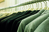 Arrangement, Black, Capitalism, Close up, Close-up, Closeup, Clothes, Color, Colour, Consumption, Department store, Department stores, Detail, Details, Dressmaking, Equality, Fashion, Gray, Grey, Hanger, Hangers, Horizontal, Indoor, Indoors, Interior, Ja