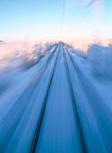 Railway in blurred motion a sunny day. Kiruna. Lapland. Sweden