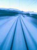 Railway in blurred motion. Kiruna. Lappand. Sweden