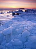 Ice formations on shore. Langnasudden. Västerbotten. Sweden