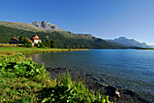 Castle Crap da Sass at lake Silvaplaner, Upper Engadin, Grisons, Switzerland