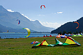 Kite surfing on lake Silvaplaner, Upper Engadin, Grisons, Switzerland