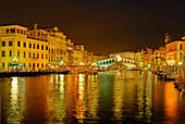 Canal Grande with illuminated Rialto Bridge, Venice, Venezia, Italy