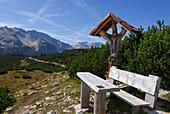 Wayside cross and a bench, Alta Via delle Dolomiti No. 1, Parco Naturale Fanes-Sennes, Alta Badia, South Tyrol, Italy