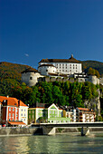 houses and castle of Kufstein above river Inn, Tyrol, Austria