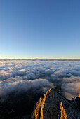 Mountain Kaiserkopf above fog bank, Hohe Tauern range in background, Ellmauer Halt, Kaiser range, Tyrol, Austria