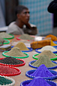 spices and colour powder at local market, Luxor, Egypt, Africa