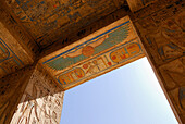 Painted reliefs at doorway, Ramesseum at western bank, Thebes, Egypt, Africa