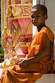 Child Monk and Buddhist Temple, Khao Yai National Park, Thailand