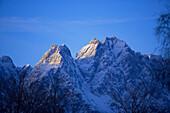 View to the Zugspitze (2962 m) and Waxenstein, Garmisch-Partenkirchen, Upper Bavaria, Germany