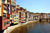Colorful apartment houses on the river Onyar, Girona, Catalonia, Spain