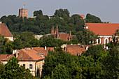 Old town and the Gediminas tower in the castle (Aukstutines pilies Gedimino bokstas), Lithuania, Vilnius