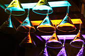 Glasses in a bar in Ausros Street, Lithuania, Vilnius