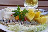 Matjes, pickled herring is a typical lithuanian meal, Lithuania