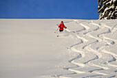 Skifahrerin, Abfahrt durch verschneite Winterlandschaft, Koppachstein, Balderschwanger Tal, Allgäuer Alpen, Allgäu, Schwaben, Bayern, Deutschland